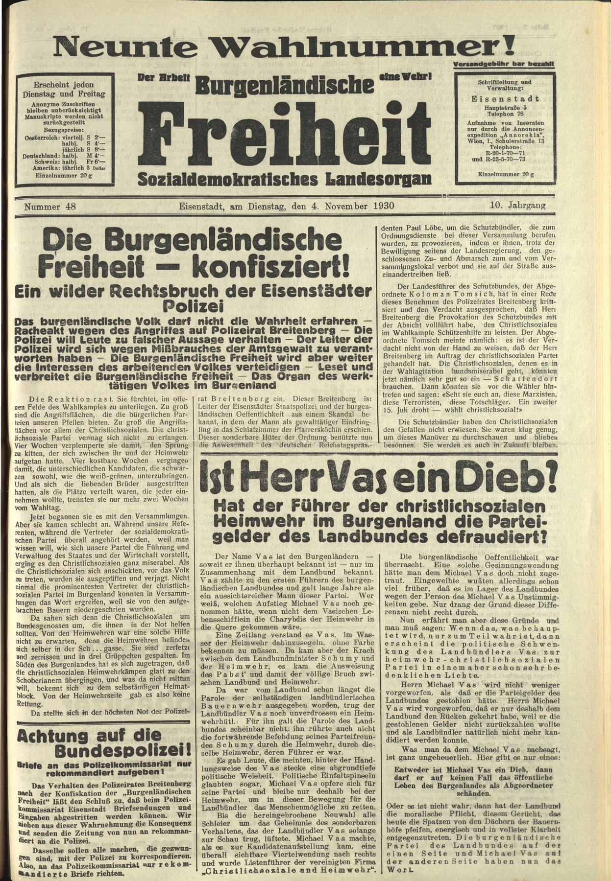 NR. 48, 04.11.1930 Die BF wird konfisziert