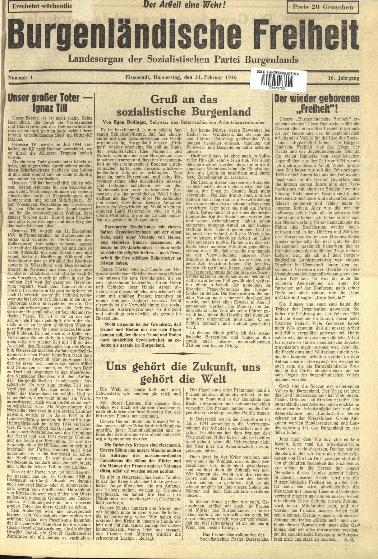 NR. 1, 21.02.1946 Die erste Nachkriegsausgabe